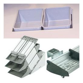 Bacs de stockage pour la préhension de petites pièces sur le poste de travail