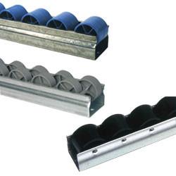Rail à galets plastique sur profilé acier pour tube aluminium