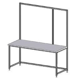 Structure table d'emballage montants profilés aluminium