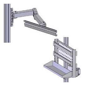 Aménagement latéral et bras articulé sur poste d'emballage montants profilés aluminium