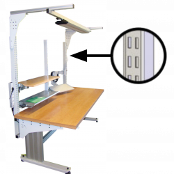 Poste de travail ergonomique à montants perforés