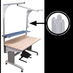 Poste de travail ergonomique montants profilés aluminium