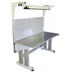 Poste de travail motorisé ajustable en hauteur charge 350 kg montants profilés aluminium