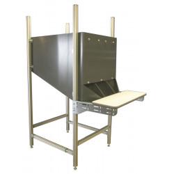 Poste de travail ergonomique trémie montants profilés aluminium