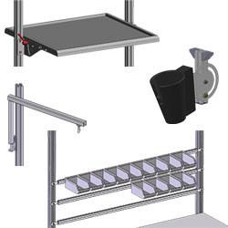 Aménagement frontal sur profilés aluminium - Etagères et supports bacs
