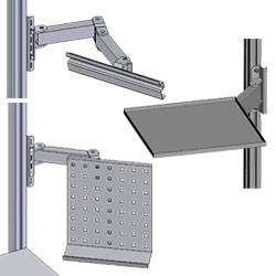 Aménagement latéral et bras articulés sur profilés aluminium