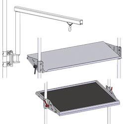 Aménagement frontal du poste de travail en tube Lean - Etagères et supports bacs