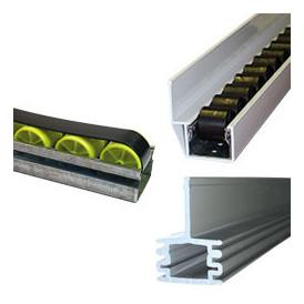 Guide rail à galets pour rayonnage dynamique