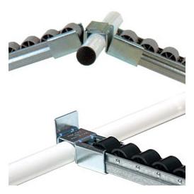 Porte-rail à galets pour rayonnage dynamique