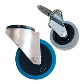 Roulette pour rayonnage dynamique en profilés aluminiummontants perforés