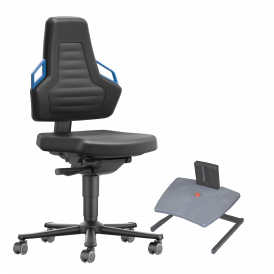 Siège, chaise d'atelier, assis-debout, repose-pieds tapis antifatigue