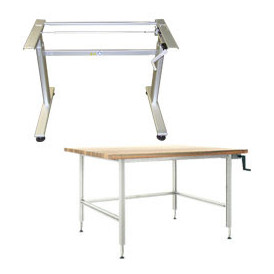 Table de travail hauteur réglable par manivelle pour atelier industriel professionnel