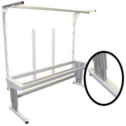 Poste de travail piètement aluminium hauteur réglable
