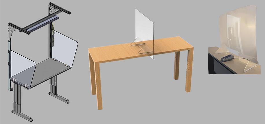 3 modèles de vitres de protection contre les infections et le COVID 19 pour comptoir, bureau et poste de travail